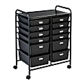 """Honey Can Do Plastic 12-Drawer Rolling Storage And Craft Cart Organizer, 32"""" x 25"""" x 15"""", Black"""