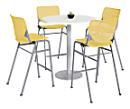"""KFI Studios KOOL Round Pedestal Table With 4 Stacking Chairs, 41""""H x 36""""D, Designer White/Yellow"""