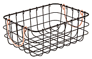 Realspace® Metal Bin With Handles, Small Size, Black/Copper
