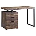 Monarch Specialties Computer Desk With 3 Drawers, Brown Woodgrain/Black