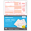 "Office Depot® Brand 1099-NEC Laser Tax Forms, 2-Up, 4-Part, 8-1/2"" x 11"", Pack Of 50 Forms"