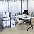 """Bankers Box Organizers Storage Boxes - External Dimensions: 6.3"""" Width x 8.1"""" Depth x 6.5"""" Height - Medium Duty - Single/Double Wall - Stackable - White, Blue - For Storage - Recycled - 12 / Carton"""