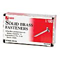 "ACCO® Round-Head Solid Brass Fasteners, No. 6R, 1 1/2"", Box Of 100"