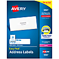 """Avery® Easy Peel® Permanent Laser Address Labels, 1"""" x 4"""", FSC® Certified, White, Pack Of 5,000"""