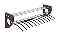 """Safco® Mode Coat Rack With 12 Hangers, 2""""H x 36""""W x 2 3/4""""D, Mahogany"""