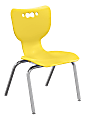 """Hierarchy 4-Leg Stackable Student Chairs, 14"""", Yellow/Chrome, Set Of 5 Chairs"""