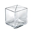 """Azar Displays Cube Pencil Holders With Divider, 4""""H x 4""""W x 4""""D, Clear, Pack Of 2 Holders"""