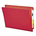 Smead® Color End-Tab Folders, Straight Cut, Letter Size, Red, Box Of 100