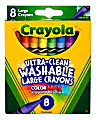 Crayola® Washable Crayons, Large, Assorted Colors, Box Of 8 Crayons
