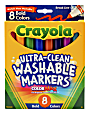 Crayola® Ultra-Clean Washable Color Markers, Broad Line, Assorted Bold Colors, Box Of 8