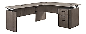 """Forward Furniture Diamond 66""""W L-Desk, Box File, Colorado Walnut"""