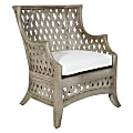 Office Star Kona Rattan Chair, Cream/Gray Washed