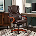 Serta® Big And Tall Bonded Leather High-Back Office Chair With Wood Accents, Biscuit/Espresso