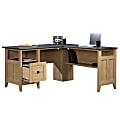 Sauder® August Hill L-Shaped Desk, Dover Oak/Rosso Slate
