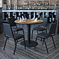 """Flash Furniture Round Table With 4 Banquet Chairs, 30"""" x 36"""", Walnut/Black"""