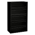 "HON® Brigade® 700 42""W Lateral 5-Drawer File Cabinet, Metal, Black"