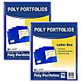 """C-Line 2-Pocket Poly Portfolios, 8-1/2"""" x 11"""", Blue, 10 Folders Per Pack, Set Of 2 Packs"""