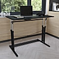 """Flash Furniture Height-Adjustable Sit-To-Stand Home Office Desk, 35-3/4""""H x 39-1/4""""W x 23-3/4""""D, Black"""