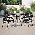 """Flash Furniture Square Glass Metal Table With 4 Aluminum Slat Stack Chairs, 28""""H x 31-1/2""""W x 31-1/2""""D, Clear/Black"""