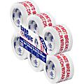 "Tape Logic® Do Not Break Stretch Wrap Preprinted Carton Sealing Tape, 3"" Core, 3"" x 110 Yd., Red/White, Pack Of 6"
