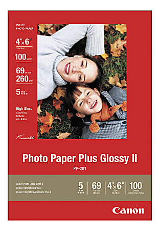 """Canon® Inkjet Photo Paper Plus, Glossy, 4"""" x 6"""", 69 Lb, Pack Of 100 Sheets"""