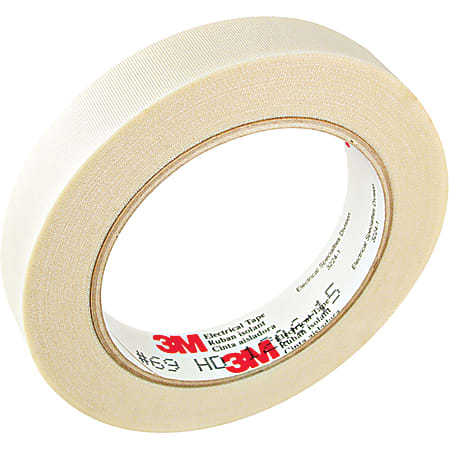 "3M™ 69 Glass Cloth Electrical Tape, 3"" Core, 1"" x 108', White, Case Of 9"