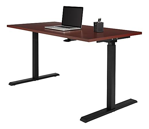 "Realspace® Magellan Pneumatic Height-Adjustable Standing Desk, 60""W, Cherry"