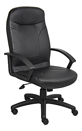 Boss Office Products High-Back Ergonomic Bonded LeatherPlus™ Chair, Black