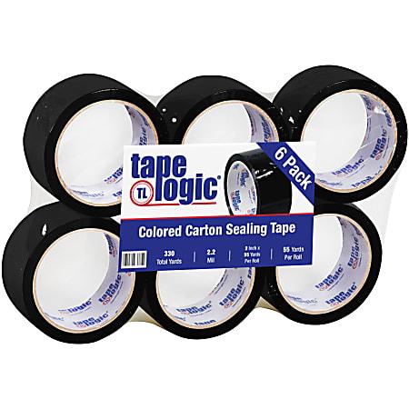 """Tape Logic® Carton-Sealing Tape, 3"""" Core, 2"""" x 55 Yd., Black, Pack Of 6"""