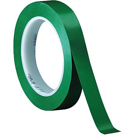 "3M™ 471 Vinyl Tape, 3"" Core, 0.5"" x 36 Yd., Green, Case Of 3"