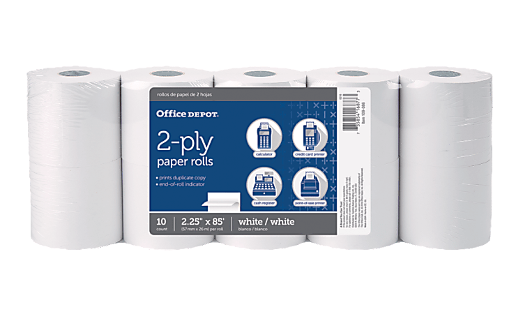 "Office Depot® Brand 2-Ply Paper Rolls, 2 1/4"" x 85', White, Pack Of 10"