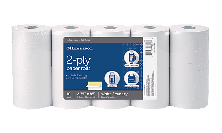 "Office Depot® Brand 2-Ply Paper Rolls, 2 3/4"" x 85', Canary/White, Pack Of 10"