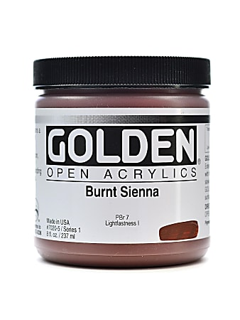 Golden OPEN Acrylic Paint, 8 Oz Jar, Burnt Sienna