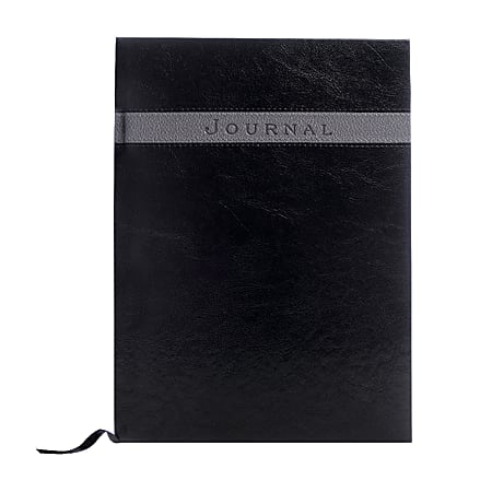 """Eccolo™ Large Format Business Journal, 8"""" x 10 1/2"""", Black/Grey"""