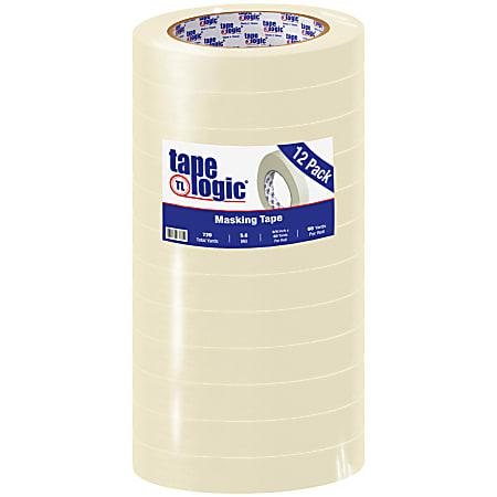 "Tape Logic® 2400 Masking Tape, 3"" Core, 0.75"" x 180', Natural, Pack Of 12"