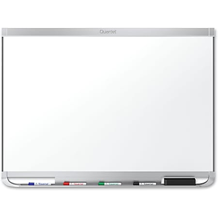 "Quartet® Prestige™ 2 DuraMax® Porcelain Magnetic Dry-Erase Whiteboard, 48"" x 72"", Aluminum Frame With Silver Finish"
