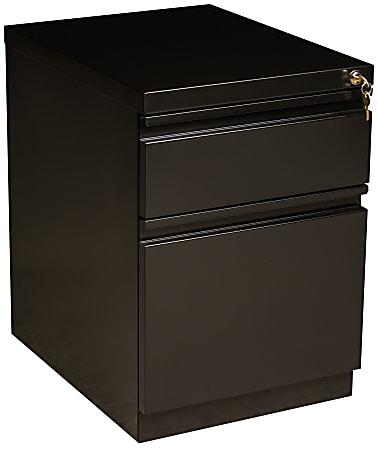 """WorkPro® 19-7/8""""D Vertical 2-Drawer Mobile Pedestal File Cabinet, Metal, Black"""