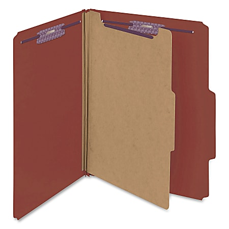 """Smead® Classification Folders, Pressboard With SafeSHIELD® Fasteners, 1 Divider, 2"""" Expansion, Letter Size, 100% Recycled, Red, Box Of 10"""