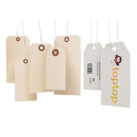 "MACO® Medium G-Grade Shipping Tags, Prewired, Size 4, 4 1/4"" x 2 1/8"", Buff, Box Of 1,000"
