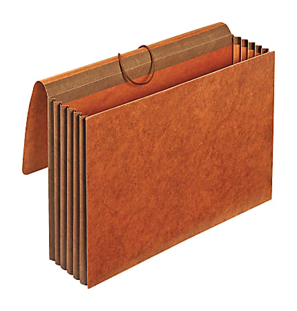"""Office Depot® Brand Heavy-Duty Expanding Wallets, 5 1/4"""" Expansion, Legal Size, Brown, Box Of 5 Wallets"""