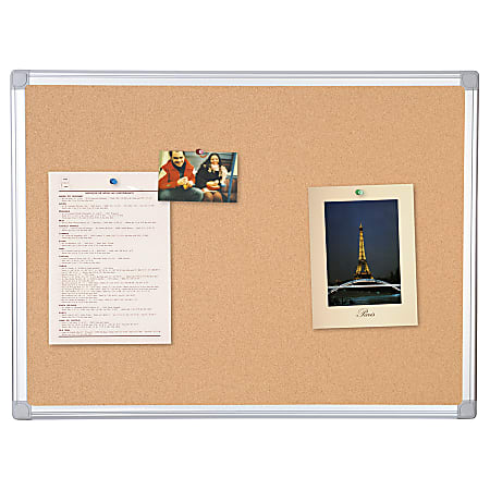 """MasterVision® Earth Cork Board, 36"""" x 48"""", 80% Recycled, Aluminum Frame With Silver Finish"""