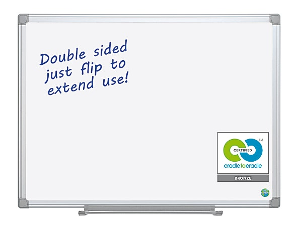 """MasterVision® Earth Silver Easy Clean™ Non-Magnetic Melamine Dry-Erase Whiteboard, 36"""" x 48"""", 80% Recycled, Aluminum Frame With Silver Finish"""