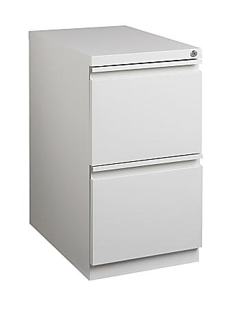 """WorkPro® 20""""D Vertical 2-Drawer Mobile Pedestal File Cabinet, Metal, Light Gray"""