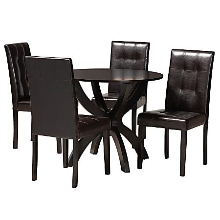 "Baxton Studio Elira Dining Set, 29-15/16""H x 35-7/16""W x 35-7/16""D, Dark Brown"