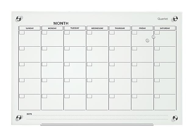 """Quartet® Infinity™ Glass Magnetic Unframed Monthly Calendar Whiteboard, 24"""" x 36"""", White"""