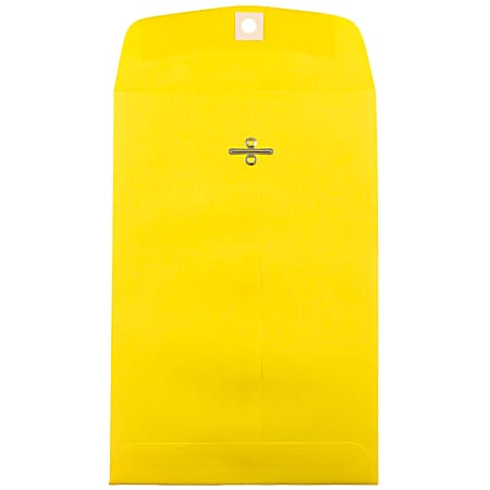 """JAM Paper® Open-End Catalog Envelopes With Clasp Closure, 6"""" x 9"""", Yellow, Pack Of 100 Envelopes"""