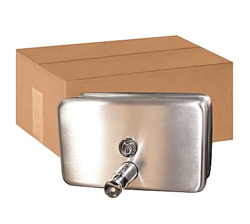 Genuine Joe Stainless 40oz Soap Dispenser - Manual - 1.25 quart Capacity - Stainless Steel - 24 / Carton