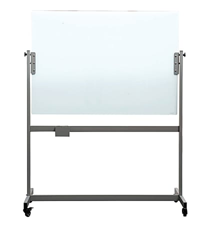 """U Brands Magnetic Glass Dry-Erase Whiteboard With Rolling Easel, 36"""" x 48"""", Metal Frame With Frosted White Finish"""