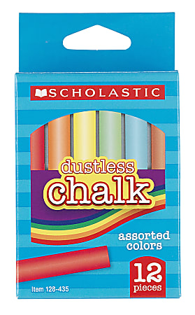 Scholastic® Dustless Chalk, Assorted Colors, Pack Of 12 Sticks