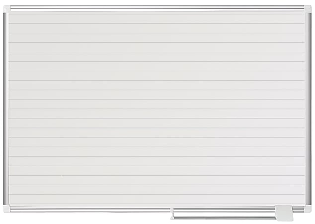 """MasterVision® Planning Magnetic Dry-Erase Board With 1"""" Grid, Laquered Steel, 36"""" x 48"""", Aluminum Frame"""